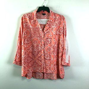 New Directions Womens Boho Lace Inset Blouse XL